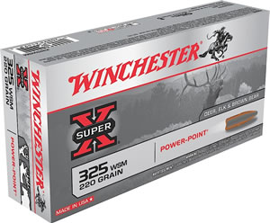 Winchester Super-X Centerfire Rifle Ammunition X325WSM, 325 WSM, Power-Point, 220 GR, 2840 fps, 20 Rd/bx