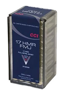 CCI Rimfire Ammunition 0055, 17 HMR, Full Metal Jacket, 20 GR, 2550 fps, 50 Rd/bx
