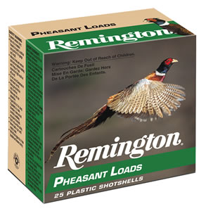 Remington Pheasant Loads PL124, 12 Gauge, 2 3/4 in, 1 1/4 oz, 1330 fps, #4 Lead Shot, 25 Rd/bx, Case of 10 Boxes