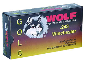 Wolf Gold Centerfire Ammunition G300WSP1, 300 Winchester Mag, Jacketed Soft Point, 165 GR, 3051 fps, 20 Rd/bx