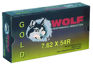 Wolf Gold Centerfire Ammunition G54RSP1, 7.62 MM X 54 MM Russian, Jacketed Soft Point, 180 GR, 2641 fps, 20 Rd/bx