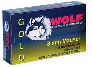 Wolf Gold Centerfire Ammunition G8X57SP1, 8 MM Mauser, Jacketed Soft Point, 196 GR, 2461 fps, 20 Rd/bx