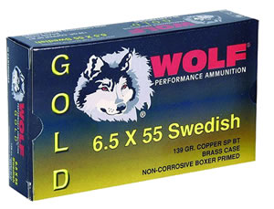Wolf Gold Centerfire Ammunition G65SSP1, 6.5 MM X 55 MM Swede, Jacketed Soft Point, 139 GR, 2542 fps, 20 Rd/bx