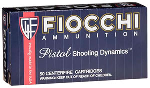 Fiocchi Shooting Dynamics Pistol Ammunition 38SA, 38 Super Auto, Metal Case, 129 GR, 1180 fps, 50 Rd/bx