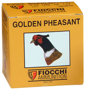 Fiocchi Golden Pheasant 203GP, 20 Gauge, 3 in, 1 1/4 oz, 1200 fps, #5 Nickel-Plated Lead Shot, 25 Rd/bx, Case of 10 Boxes
