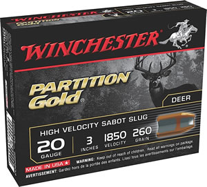 Winchester Supreme Partition Gold Slugs SSP203, 20 Gauge, 3 in, 280 grains, 1850 fps, Sabot Slug Copper/Lead, 5 Rd/bx