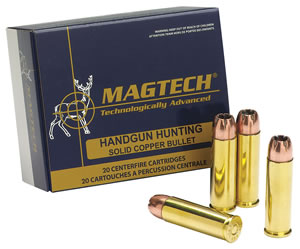 Magtech Handgun Hunting Ammunition 454C, 454 Casull, Solid Copper Hollow Point, 225 GR, 1640 fps, 20 Rd/bx
