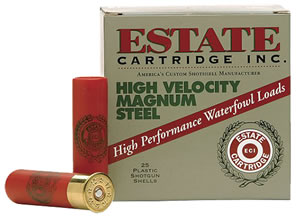 Estate High Velocity Magnum Steel HVST123SF4, 12 Gauge, 3 in, 1 1/8 oz, 1500 fps, #4 Steel Shot, 25 Rd/bx, Case of 10 Boxes