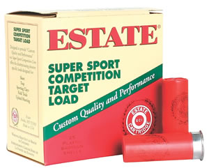 Estate Super Sport Target SS12L8, 12 Gauge, 2 3/4 in, 1 1/8 oz, 1145 fps, #8 Lead Shot, 25 Rd/bx, Case of 10 Boxes