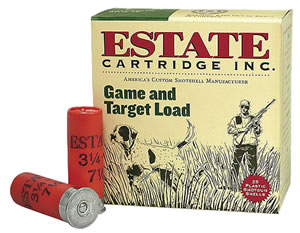 Estate Game/Target Load GTL128, 12 Gauge, 2 3/4 in, 1 oz, 1290 fps, #8 Lead Shot, 25 Rd/bx, Case of 10 Boxes