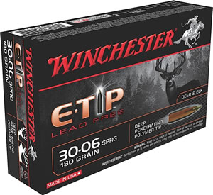 Winchester Supreme Centerfire Rifle Ammunition S3006ET, 30-06 Springfield, E-Tip Lead-Free, 180 GR, 2750 fps, 20 Rd/bx