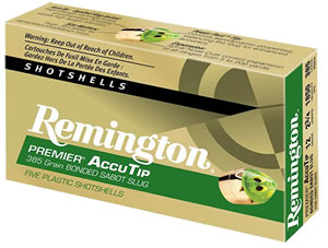 Remington Remington Premier AccuTip Bonded Sabot Slugs PRA12, 12 GA, 2.75 in, 385 grains, 1850 fps, Designed for use in fully-rifled barrels only, 5 Rd/bx