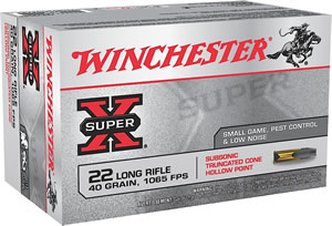 Winchester Super X Rimfire Ammunition X22LRSUBA, 22 Long Rifle, Truncated Cone Hollow Point, 40 GR, 1065 fps, 3000 Rd Case (60 boxes)