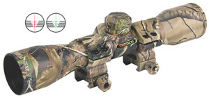 TruGlo  Cross Bow Scope TG8504C3, 4x, 32mm Obj, 1 in Tube Dia, Realtree, Range Finding/Trajectory Compensating Reticle