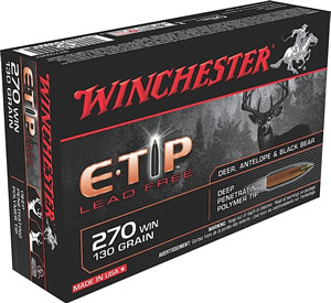 Winchester Supreme Elite Centerfire Rifle Ammunition S270WET, 270 Winchester, E-Tip Lead-Free, 130 GR, 3050 fps, 20 Rd/bx