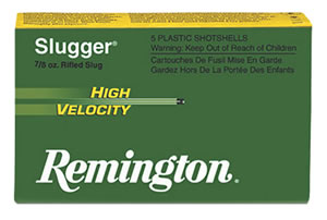 Remington Slugger High Velocity SPHV20RS, 20 Gauge, 2 3/4 in, 1/2 oz, 1800 fps, Lead Slug, For Smooth Bore, 5 Rd/bx