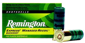 Remington Express Managed Recoil Buckshot RL12BK00, 12 Gauge, 2 3/4 in, 9 Pellets, 1200 fps, #00 Lead Buckshot, 5 Rd/bx