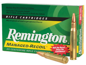 Remington Managed Recoil Rifle Ammunition RL300W1, 300 Winchester Mag, Core-Lokt Pointed Soft Point, 150 GR, 2650 fps, 20 Rd/bx