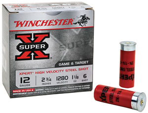 Winchester Xpert Upland Steel Value Pack WE20GTVP6, 12 Gauge, 2 3/4 in, 3/4 oz, Steel, 1300 fps, Shot #6, 100 Rd/2bx