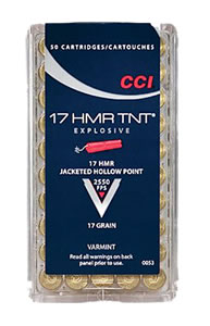 CCI Rimfire Ammunition 0053, 17 HMR, Jacketed Hollow Point, 17 GR, 2550 fps, 50 Rd/bx