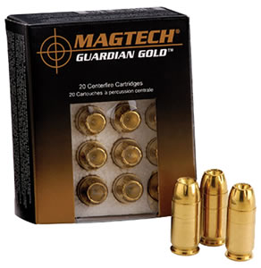 Magtech Guardian Gold Cartridge GG32A, 32 ACP, Jacketed Hollow Point, 65 GR, 1378 fps, 20 Rd/bx
