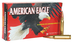 Federal American Eagle Ammunition AE3006N, 30-06 Springfield, Metal Case Boat-Tail, 150 GR, 2910 fps, 20 Rd/bx
