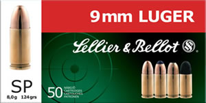 Sellier & Bellot Ammunition SB9S 9mm, Soft Point, 124 GR, 1109 fps, 50 Rd/bx