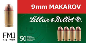 Sellier & Bellot Ammunition SB9MAK 9mmX18mm Makarov, Full Metal Jacket, 95 GR, 1050 fps, 50 Rd/bx