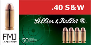 Sellier & Bellot Ammunition SB40B 40 Smith & Wesson, Full Metal Jacket, 180 GR, 985 fps, 50 Rd/bx