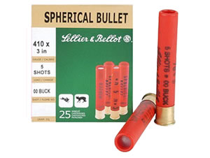 Sellier & Bellot Shotgun Shells SB410B 410 Gauge, 3 in, 5 pellets, #00 Buck Lead Shot, 25 Rd/bx