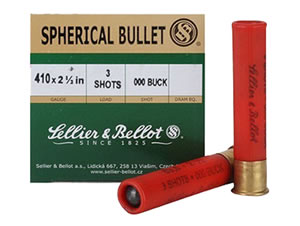 Sellier & Bellot Shotgun Shells SB410A 410 Gauge, 2 1/2 in, 3 Pellets, #000 Buck Lead Shot, 25 Rd/bx