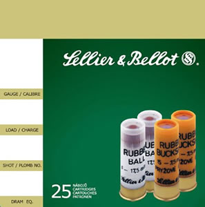 Sellier & Bellot Shotgun Shells SB12RBA 12 Gauge, 2 3/4, 2.67, #1 Rubber Ball Rubber Shot, 25 Rd/bx