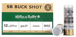 Sellier & Bellot Shotgun Shells SB12BSB, 12 Gauge, 2 3/4 in, 27 Pellets, #4 Buck Lead Shot, 25 Rd/bx