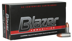 CCI Blazer Handgun Centerfire Ammunition 3578, 9 mm, Full Metal Jacket, 124 GR, 1090 fps, 50 Rd/bx