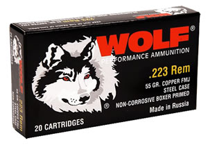 Wolf Ammo 22355, 223 Remington, Full Metal Jacket, 55 GR, 3241 fps, 500 Rd Per Box