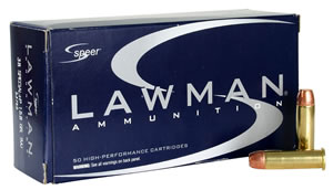 Speer Lawman Handgun Ammunition 53750, 38 Special + P, Total Metal Jacket, 158 GR, 900 fps, 50 Rd/bx