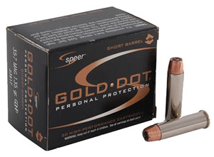 Speer Gold Dot Handgun Ammunition 23972, 44 Remington Mag, Gold Dot Hollow Point, 210 GR, 1450 fps, 20 Rd/bx