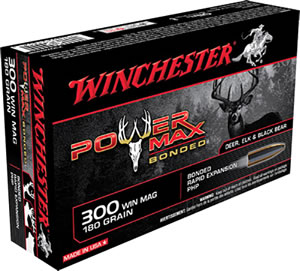 Winchester Super X Ammunition X30WM2BP, 300 Winchester Mag, Power Max Bonded, 180 GR, 2960 fps, 20 Rd/bx