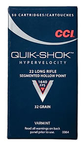 CCI Quik Shok Rimfire Ammunition 0064, 22 Long Rifle, Hollow Point, 32 GR, 1640 fps, 50 Rd/bx, 30 Boxes (1500 Rounds)