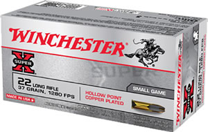 Winchester Super X Rimfire Ammunition X22LRH, 22 Long Rifle, Lead Hollow Point, 37 GR, 1280 fps, 50 Rd/bx, 30 Boxes Included