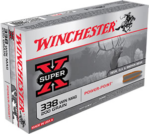 Winchester Super-X Centerfire Rifle Ammunition X3381, 338 Winchester Mag, Power-Point, 200 GR, 2960 fps, 20 Rd/bx