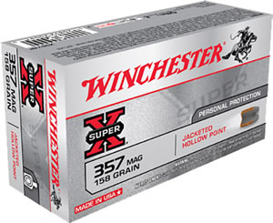 Winchester Super-X Centerfire Pistol Ammunition X3574P, 357 Remington Mag, Jacketed Hollow Point, 158 GR, 1235 fps, 50 Rd/bx