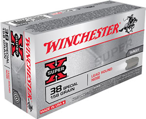 Winchester Super-X Centerfire Pistol Ammunition X38S1P, 38 Special, Lead Round Nose, 158 GR, 755 fps, 50 Rd/bx