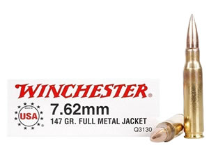 Winchester USA Centerfire Pistol Ammunition Q3130, 7.62 MM NATO, Full Metal Jacket, 147 GR, 2800 fps, 20 Rds