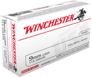 Winchester USA Centerfire Pistol Ammunition Q4172, 9 MM, Full Metal Jacket, 115 GR, 1190 fps, 50 Rd/bx