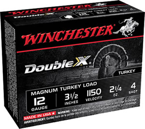 Winchester Supreme XX Magnum Turkey XXT12L4, 12 Gauge, 3 1/2 in, 2 1/4 oz, 1150 fps, #4 Lead Shot, 10 Rd/bx