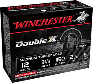 Winchester Supreme XX Magnum Turkey XXT12L6, 12 Gauge, 3 1/2 in, 2 1/4 oz, 1150 fps, #6 Lead Shot, 10 Rd/bx