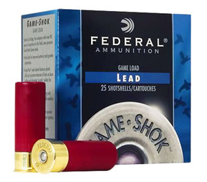 Federal Premium Game Shok High Brass H2044, 20 Gauge, 2 3/4 in, 1 oz, 1220 fps, #4 Lead Shot, 25 Rd/bx, Case of 10 Boxes