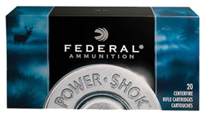 Federal Premium Power Shok Ammunition 300WBS, 300 Winchester Mag, Speer Hot-Cor SP, 180 GR, 2960 fps, 20 Rd/bx