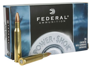 Federal Premium Power Shok Ammunition 270A, 270 Winchester, Soft Point, 130 GR, 3060 fps, 20 Rd/bx